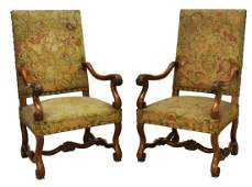 (2) FRENCH LOUIS XIV STYLE WALNUT HIGHBACK CHAIRS