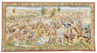 FLEMISH STYLE HAND-WOVEN TAPESTRY BATTLE OF PAVIA