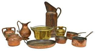 LOT FRENCH COPPER  BRASS KITCHENWARE PANS