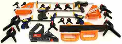 6: BOX OF HAND CLAMPS, BAR CLAMPS, FEATHER-LOC MORE