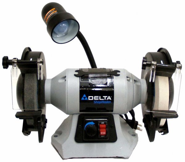 8: DELTA 8' DOUBLE WHEEL BENCH GRINDER WITH LIGHT