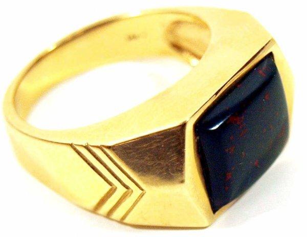 19: MEN'S STULLER 14KT YELLOW GOLD BLOODSTONE RING