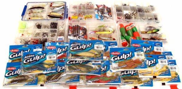 24: BOXES OF FISHING TACKLE, 27 LURES, BERKLEY PACKS