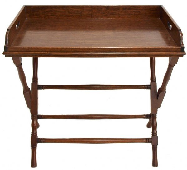 241: ANTIQUE ENGLISH OAK BUTLER'S TABLE/ TRAY ON STAND - 2