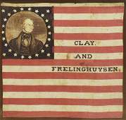1844 HENRY CLAY FOR PRESIDENT CAMPAIGN FLAG BANNER