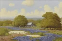 """C.P. MONTAGUE (TX 1927-2010) BLUEBONNETS 24"""" x 36"""""""