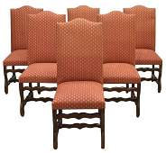 (6) LOUIS XIV STYLE UPHOLSTERED DINING CHAIRS