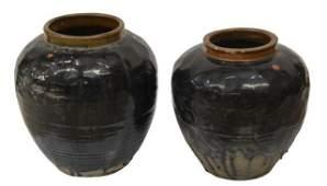 (2) LARGE CHINESE GLAZED WATER JARS/ PLANTERS