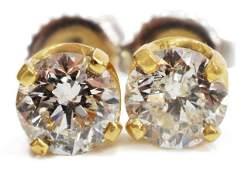 (PR) ESTATE 14KT GOLD & 1.25CTTW DIAMOND EARRINGS