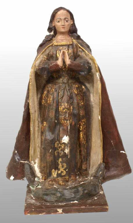 4: ANTIQUE RELIGIOUS FEMALE SAINT COMPOSITION STATUE