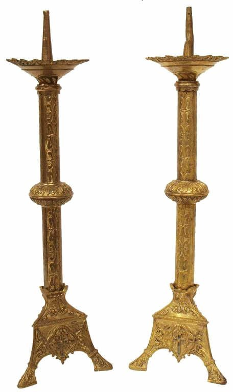 7: ANTIQUE RELIGIOUS FRENCH GILT ALTAR CANDLE STICKS
