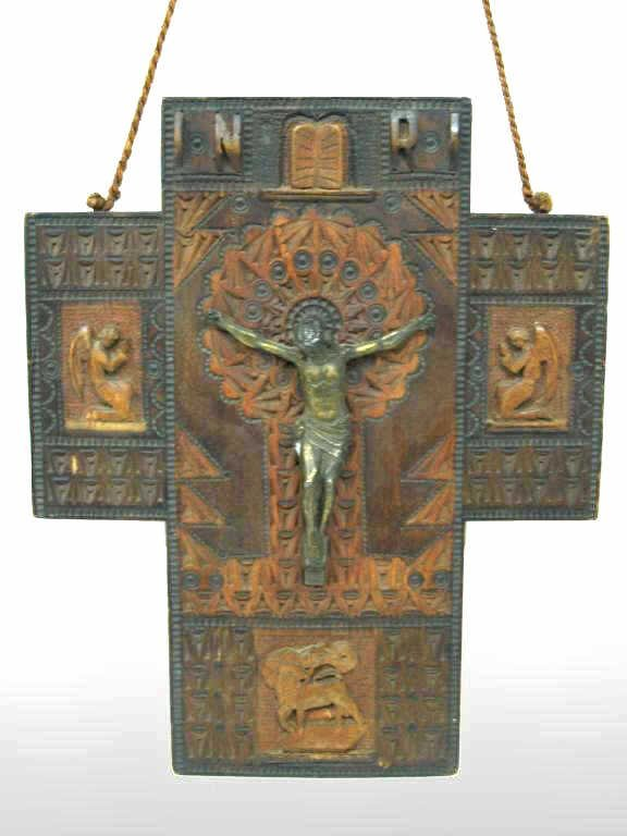 9: CENTRAL AMERICA CARVED WOOD CRUCIFIX ARTIST SIGNED