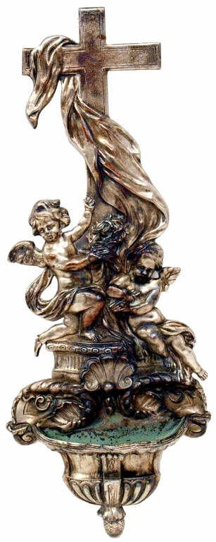 12: ANTIQUE FRENCH WINGED ANGEL HOLY WATER FONT
