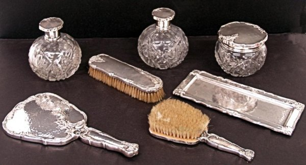 19: FINE SPANISH SILVER & CUT GLASS DRESSER SET
