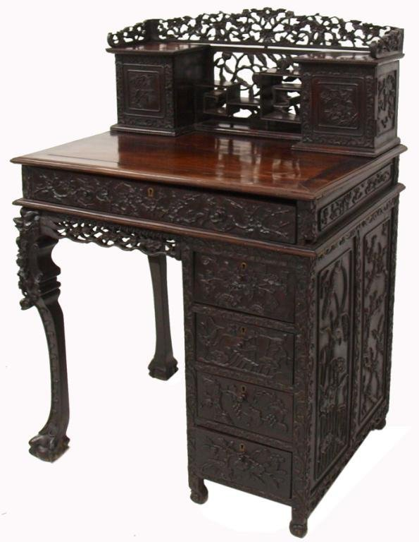 108: FINE ANTIQUE CHINESE CARVED ROSEWOOD WRITING DESK
