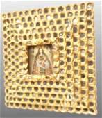 196: SPANISH COLONIAL GILTWOOD MIRRORED WALL SHRINE