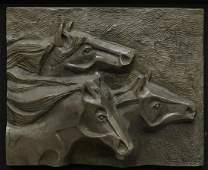 WARREN CULLAR (B.1942) FRAMED BRONZE HORSE PLAQUE