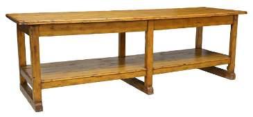 "RUSTIC PINE WORK TABLE KITCHEN ISLAND, 111""L"
