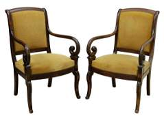 (2) FRENCH LOUIS PHILIPPE STYLE MAHOGANY FAUTEUILS