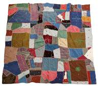 HANDEMBROIDERED CRAZY QUILT 71 X 71