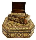 (3) ARABESQUE BONE & MOP INLAID TABLE BOXES