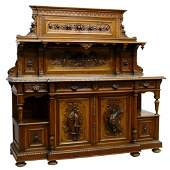 FRENCH MARBLE-TOP WALNUT HUNT SIDEBOARD