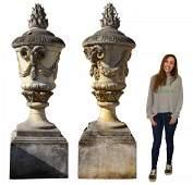 (2) MONUMENTAL CAST STONE LIDDED GARDEN URNS