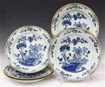 (5) DELFT BLUE & WHITE FAIENCE CHINOISERIE PLATES