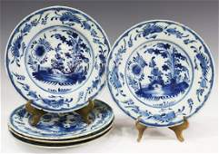 (5) DELFT BLUE & WHITE FAIENCE PLATES, LATE 18TH C