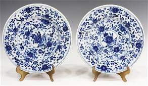 (2) DELFT BLUE & WHITE FAIENCE PLATES, LATE 18TH C
