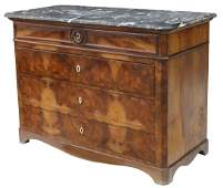 FRENCH LOUIS PHILIPPE MARBLE-TOP FIGURED COMMODE