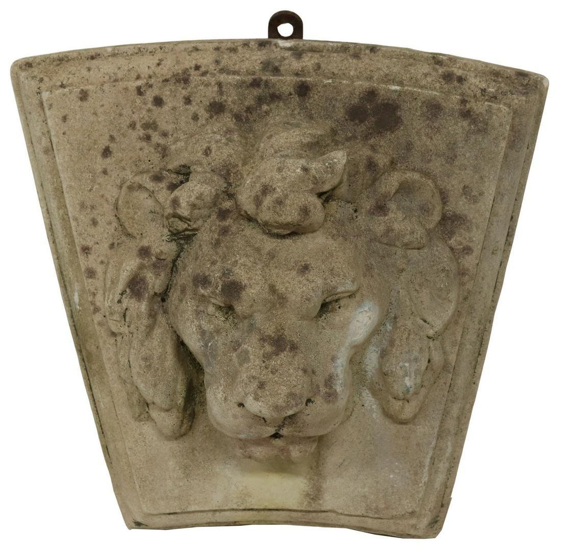 CAST STONE LION HEAD WALL FOUNTAIN