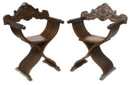 (2) ITALIAN SAVONAROLA SLATTED CURULE CHAIRS