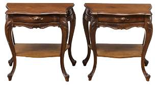 (2) LOUIS XV STYLE CARVED WALNUT SIDE TABLES