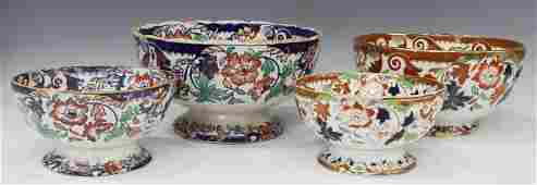 4 ENGLISH IRONSTONE GRADUATED FOOTED BOWLS