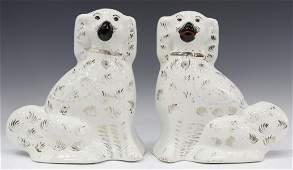 2 ENGLISH VICTORIAN STAFFORDSHIRE MANTEL DOGS