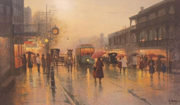 "16: G HARVEY SIGNED PRINT ""STREETS OF NEW ORLEANS"""