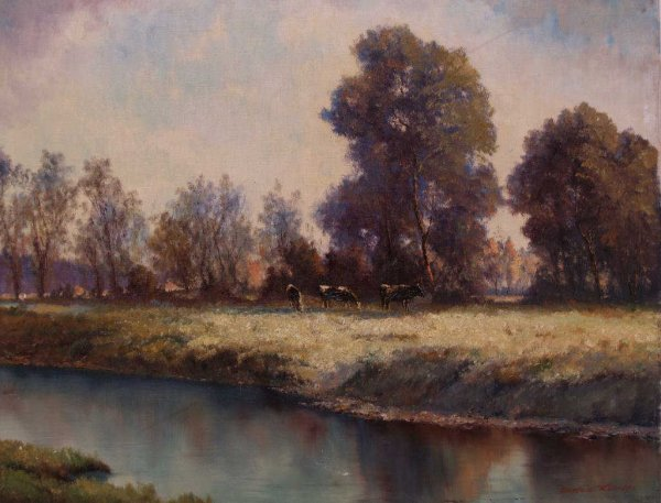 22: PAINTING, CATTLE RIVER, CARLOS KUCH (1899-1966)