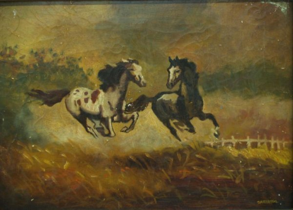 24: FRAMED OIL PAINTING, GALLOPING HORSES, SIGNED