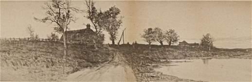 105: FRAMED ENGRAVING, RURAL COUNTRY SCENE, c. 1890