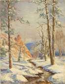106 PAINTING WINTER FOREST THOMAS L LEWIS NEW MEXICO