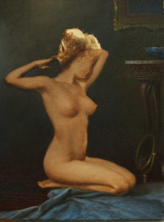 PAINTING, PORTRAIT OF A FACELESS NUDE, A.D. GREER