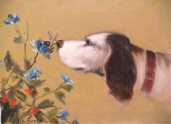 178: PAINTING,DOG & BEE, A.D. GREER, AMERICAN 1904-1998