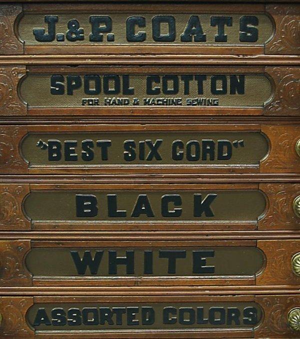 ANTIQUE J & P COATS SIX DRAWER SPOOL CABINET - 5