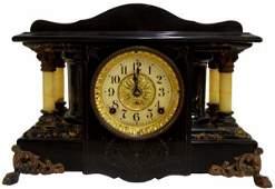 ANTIQUE SETH THOMAS FAUX MARBLE MANTLE CLOCK