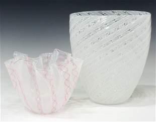 (2) MURANO VENINI LATTICINO ART GLASS VASES