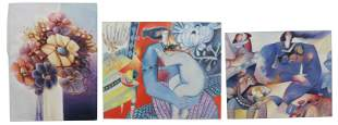 (3) MODERN MIXED MEDIA PAINTINGS ON CANVAS