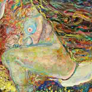 FRAMED MODERN ABSTRACT FEMALE NUDE PAINTING