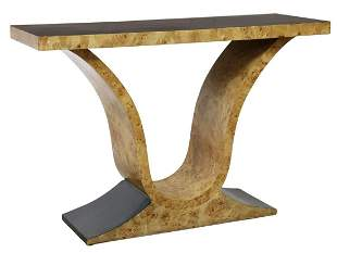 FRENCH ART DECO BURLWOOD CONSOLE TABLE