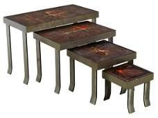(4) ITALIAN MODERN TILE-TOP IRON NESTING TABLES